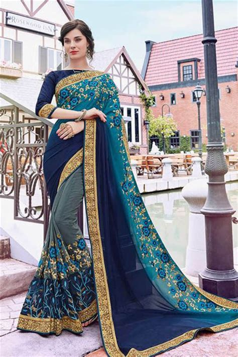 Wedding Card Market In Mumbai by Indian Satin Georgette Embroidery Border Work Wholesale
