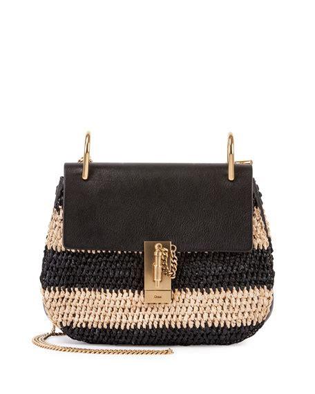 Black Pattern Handbags | chloe drew small raffia saddle bag black pattern