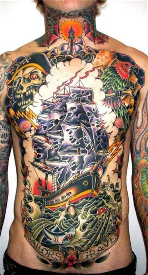 tattoo chest ship top 144 chest tattoos for men
