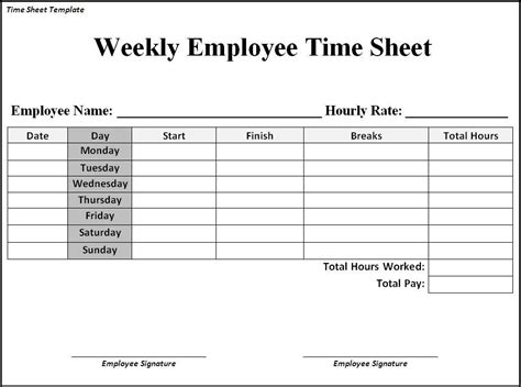 time card template pdf time sheet template page word excel pdf