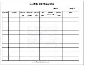 Monthly Bill Planner Template Free Printable Monthly Bill Organizer Self Organization