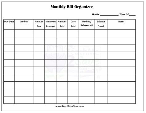 free printable monthly bill organizer http teachme2save
