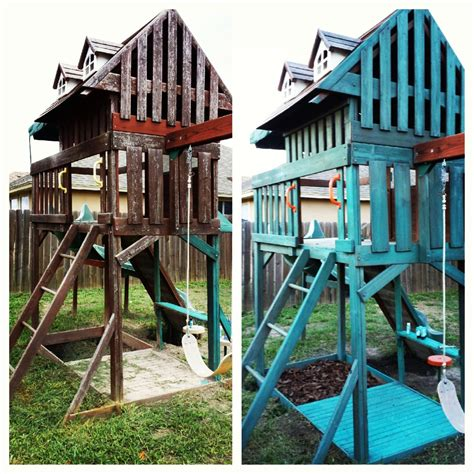 swing paints before and after swing set makeover swing set repaint