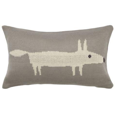 fox knitted cushion  scion silver cushion