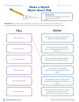 Show Don T Tell Worksheet by Writing Realistic Fiction Education