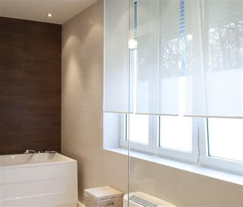 Modern Bathroom Roller Blinds Solar Screen Shade Modern Bathroom Brown White