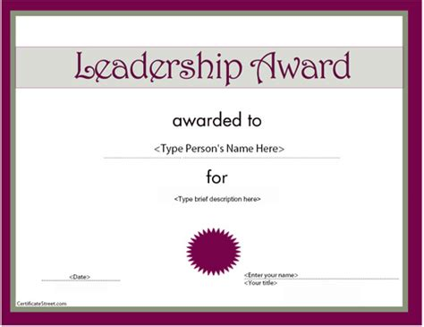 Business Certificates Leadership Award Certificatestreet Com Leadership Certificate Template Free