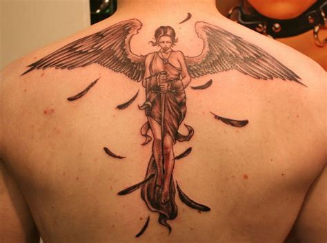 sad angel tattoo designs tattoos religious tattoos