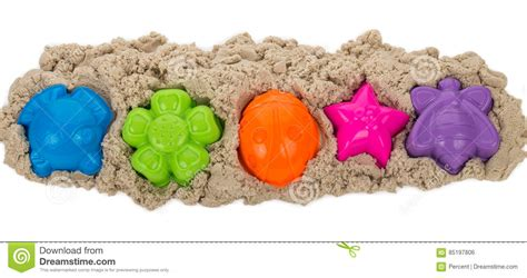 colored kinetic sand kinetic sand with multicolored molds stock photo image