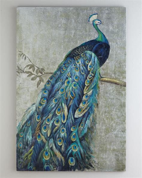 Handmade Paintings On Canvas - framed handmade peacock painting with silver foil