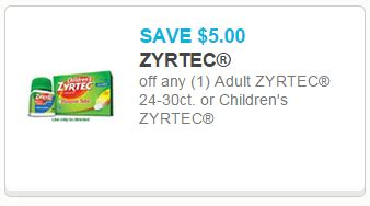 printable zyrtec coupon save 5 off zyrtec allergy medicine