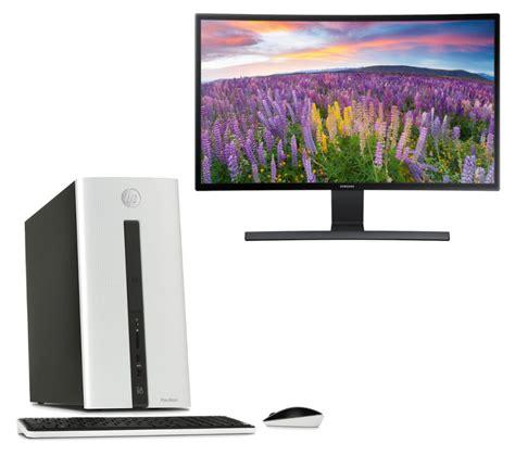 Monitor Curved 24 hp pavilion 550 desktop pc samsung 24 quot curved monitor bundle deals pc world