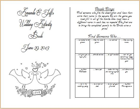 activity book template wedding activity book template pictures to pin on