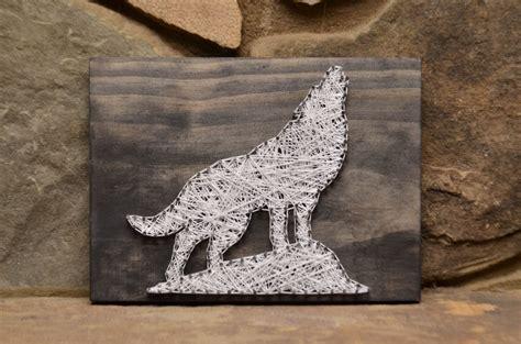 wolf string wildlife wildlife decor rustic wood