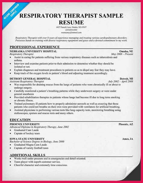 respiratory therapist new grad resume sle respiratory therapist resume sop exles