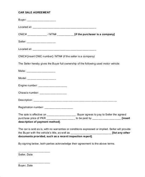 Contract Letter For Vehicle Sle Car Sale Contract Forms 8 Free Documents In Pdf Doc