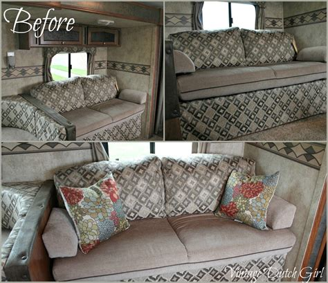 rv couch cushions vintage dutch girl travel trailer makeover part 7