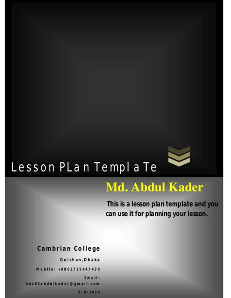 lesson plan powerpoint template lesson plan template