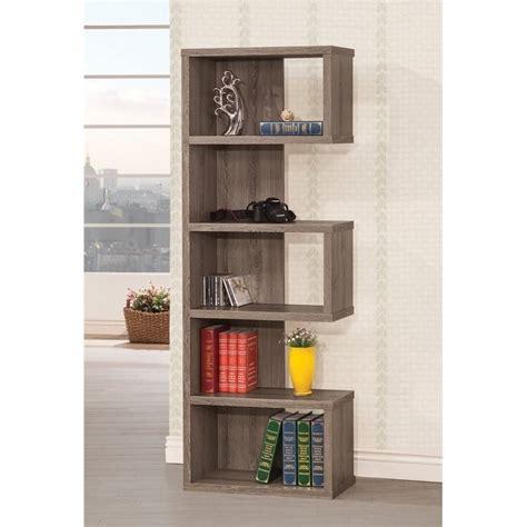 coaster semi backless bookcase in gray 800552