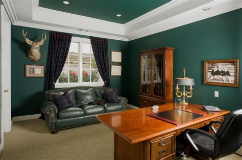 dark green living room dark green sofa home office traditional with animal head