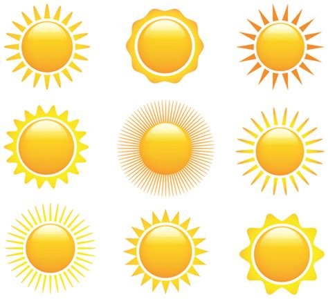 sun icons design elements 02 over millions vectors