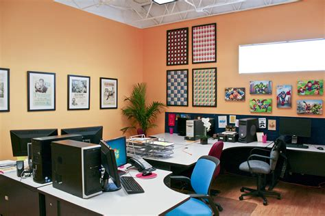best colors for home office entrancing design ideas of office interior with wooden work desks and dividers also combine