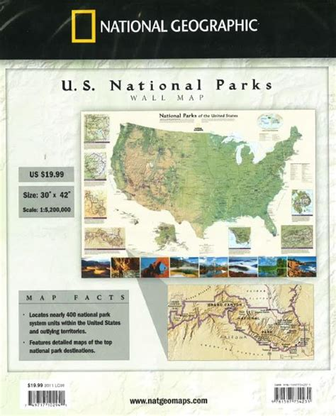 united states map with national parks national parks of the united states wall map by national