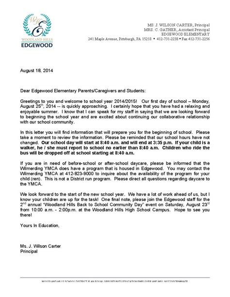 Parent Letter Back To School back to school letter to parents images