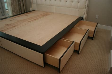 Custom Platform Bed Custom Platform Bed With Drawers And Headboard Modern Bedroom Toronto By Ideal Sofa