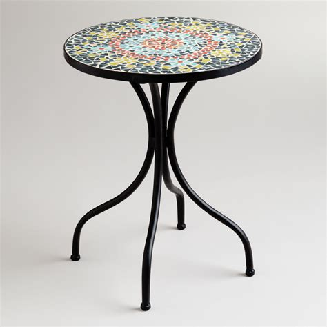 mosaic accent table medallion cadiz mosaic accent table from cost plus world