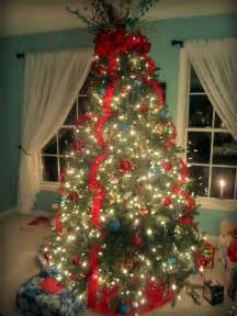 Christmas tree red aqua turquoise and gold with a whimsical