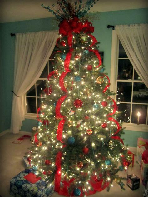 ribbon on christmas tree pictures 83 best images about gold and aqua on