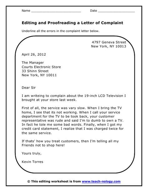 Complaint Letter To Kindergarten Grammar Proofreading Worksheets Abitlikethis