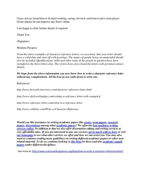 how to write a character reference letter how to write a character reference letter 1309