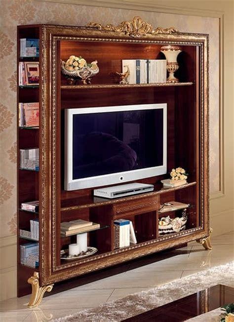 mobili porta tv classici porta tv con libreria con decori dorati semplice e