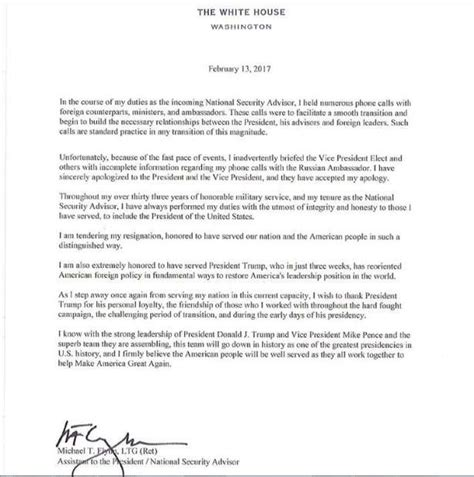 Clinton Resignation Letter by Clinton Has Something To Say About Michael Flynn S Resignation And News