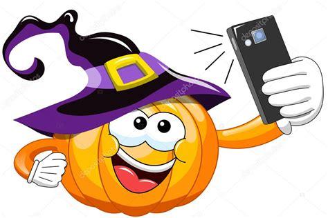 imagenes de halloween viros animados dibujos animados halloween calabaza selfie smartphone