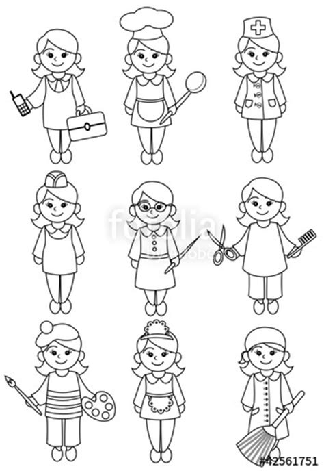 coloring pages jobs and professions quot women representatives of professions black and white