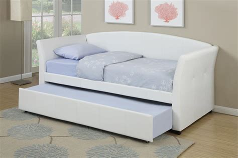 trundle bed white faux leather day bed with trundle