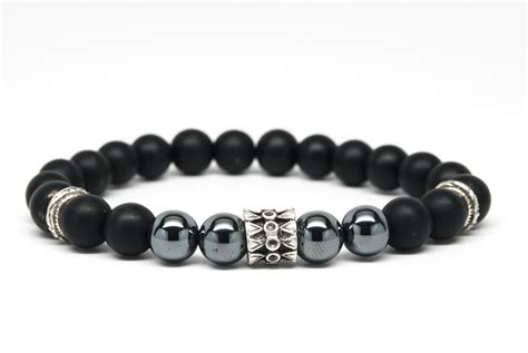 black bead bracelet mens matt black onyx and hematite beaded mens bracelet handmade