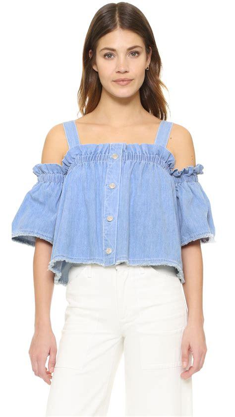 shoulder denim top sjyp denim shoulder top in blue lyst