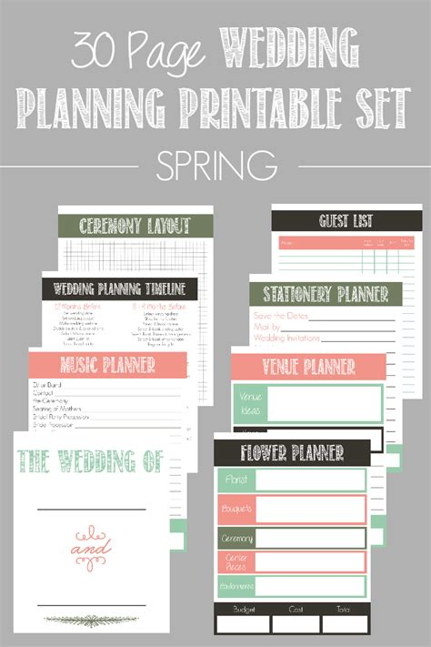 download printable wedding planner 30 page wedding planning printable set bread booze bacon