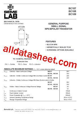 datasheet of transistor bc107 bc107 datasheet pdf seme lab