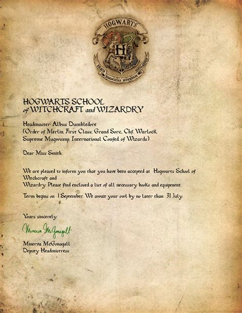 Official Hogwarts Letter Harry Potter Hogwarts Letter Www Imgkid The Image Kid Has It