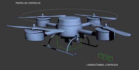 model drone with drone quadrocopter with rigged 3d model rigged max
