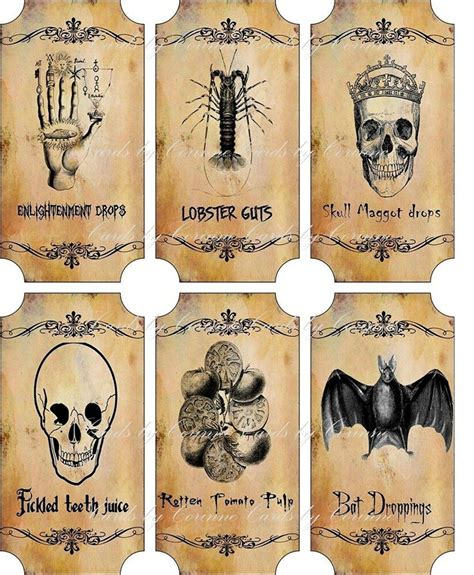 vintage inspired halloween sepia  large bottle stickers apothecary labels set  ebay