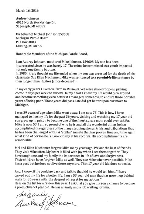 Support Letter For Inmate Sle Letters Of Support Michael Johnson Story Of Michigan Juvenile Offender 159608