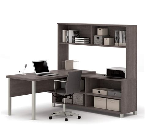 grey desk with hutch pro linea l desk with hutch in bark grey zerbee