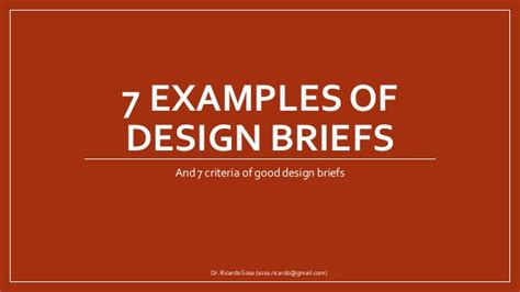 exles of design briefs