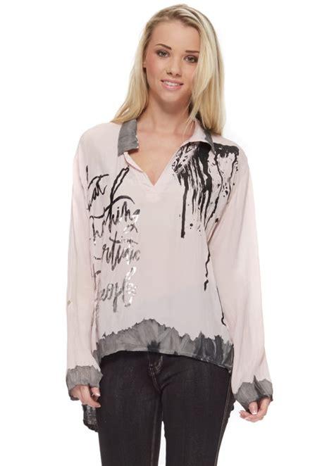 Blouse Semi Kaftan Branded monton baby pink silk blouse pink silk top designer silk blouse